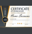 gold and black elegance horizontal certificate vector image