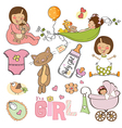 new baby girl elements set isolated on white vector image