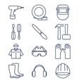 Set of line icons for DIY tools and work clothes vector image