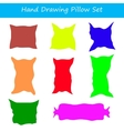 with hand drawing pillows set vector image