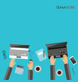 working process of business team concept hands vector image