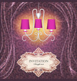background with curtains and a chandelier with vector image
