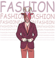 Fashion of goat hipster style vector image