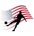 united states soccer player against national flag vector image vector image