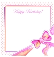 Greeting card with a bow pink vector image