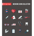 Set of medicine healthcare flat icons Thermometer vector image