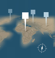Earth map with destination points template vector image