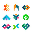 abstract corporate block symbol design set vector image