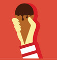 ice cream holding hand gesture graphic vector image