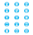 Set of blue and white circular buttons vector image