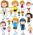 Woman doing different jobs vector image vector image