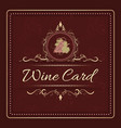 wine card menu design with hand drawn bunch of vector image