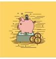 yellow background with moneybox savings vector image