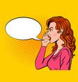woman shouts pop art style vector image vector image