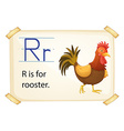 A letter R for rooster vector image