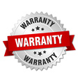 warranty 3d silver badge with red ribbon vector image