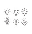 different modern lightbulb icons set isolated on vector image