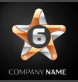 number six logo symbol in the colorful star on vector image