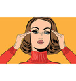 pop art retro woman in comics style with migraine vector image