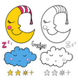 set of images about sleeping for coloring good vector image