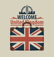 tourist banner with suitcase and flag of uk vector image