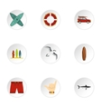 Surfing club icons set flat style vector image
