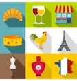 France Republic icons set flat style vector image