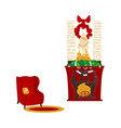 christmas fireplace and armchair cozy scene