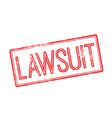 Lawsuit red rubber stamp on white vector image