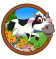 funny cow cartoon posing vector image vector image