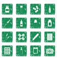 different drugs icons set grunge vector image