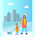 family walking dog together vector image