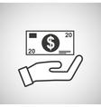 hand hold bill dollar money vector image