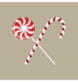 set of two red and white candy sweets vector image