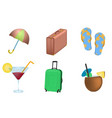 set of summer vacation objects vector image