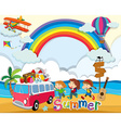 Summer theme with children and van vector image