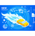 bright fire and car on blue background for b vector image