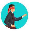closeup profile of blindfolded man in suit vector image