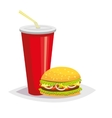 Colorful cartoon fast food icon on white vector image
