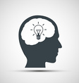 icon of human head with a light bulb vector image