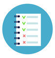 notebook list with green and red tips check points vector image