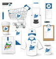 Set of corporate identity uniform flyer cart vector image