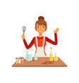 young woman with whisk baking housewife girl vector image