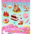 Confectionery and desserts cake cupcake candy vector image