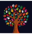 Colorful solidarity tree hands vector image