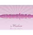 Madison skyline in radiant orchid vector image vector image