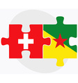 Switzerland and French Guiana Flags vector image