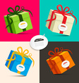 Gift Boxes - Retro Colored Paper Present Box Set vector image