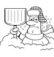 Cartoon man buried in snow vector image