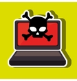 laptop computer with skull isolated icon design vector image
